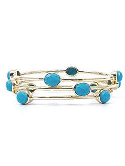 Turquoise Four Stone Bangle Bracelet