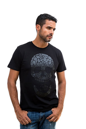 MENS MATTE BLACK SKULL T-SHIRT