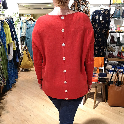 GINGER TOBY Short Button Knit - Red