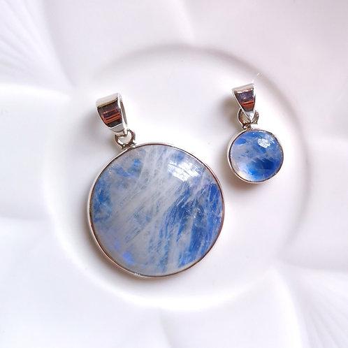 DOLPHIN Circle Blue Moonstone Pendant