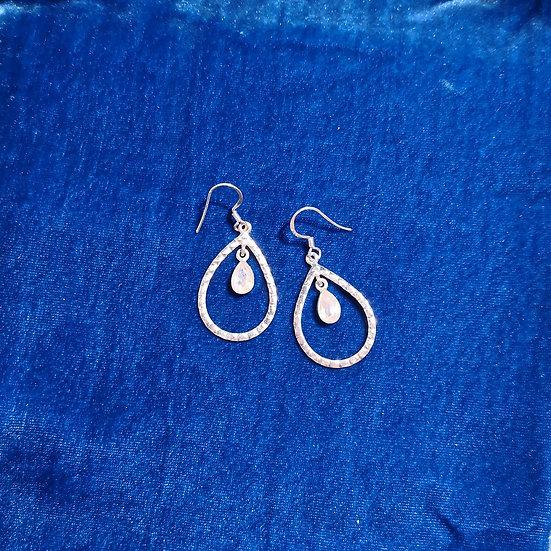 SIREN Hammered Moonstone Peardrop Earrings