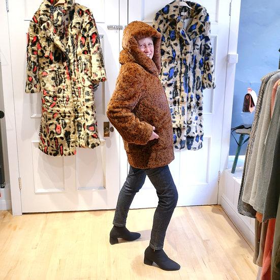 JAYLEY Leopard Print Hood Coat