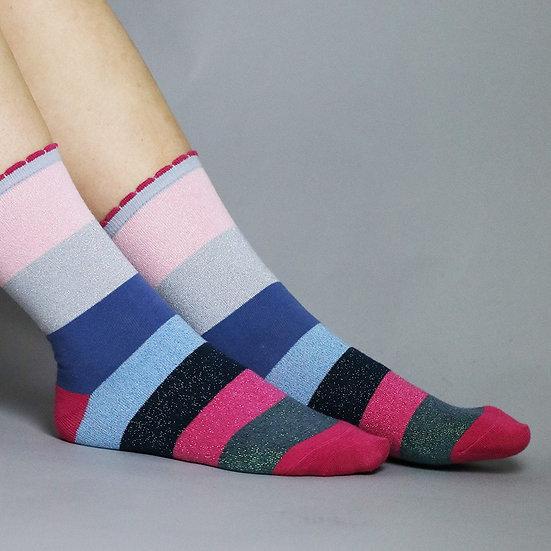 POM Shimmer Stripe Socks