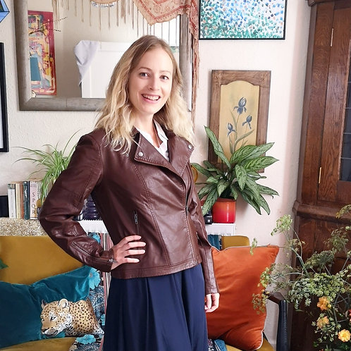 SOYA CONCEPT Brown Faux Leather Jacket