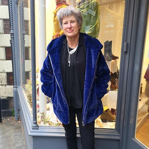 JAYLEY Faux Fur Blue Hood Coat