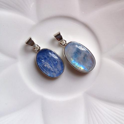 DOLPHIN Oval Blue Moonstone Pendant