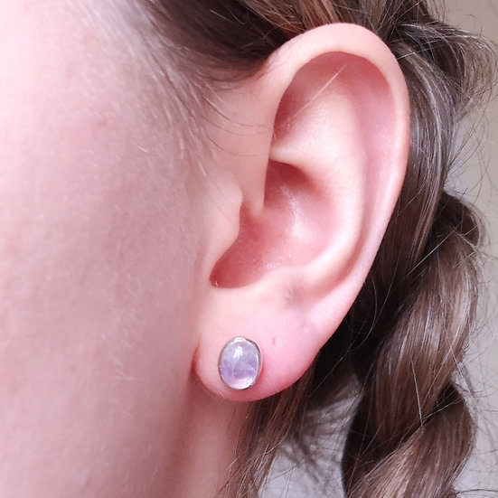 DOLPHIN Pink Moonstone Studs