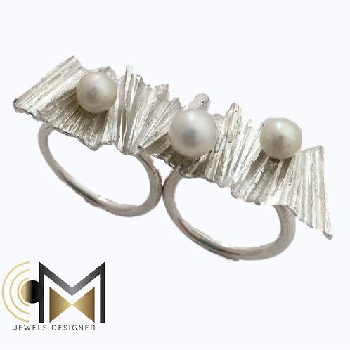 Anello doppio lastra perle
