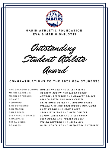 Class of 2021 Marin Athletic Foundation
