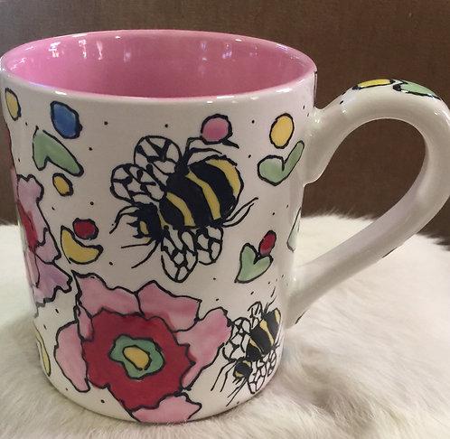 #2 Bee mug pink inside