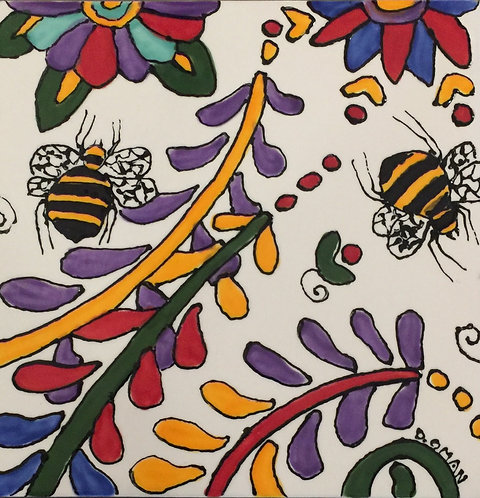 """#1 Bees Tile 6"""" x6"""""""