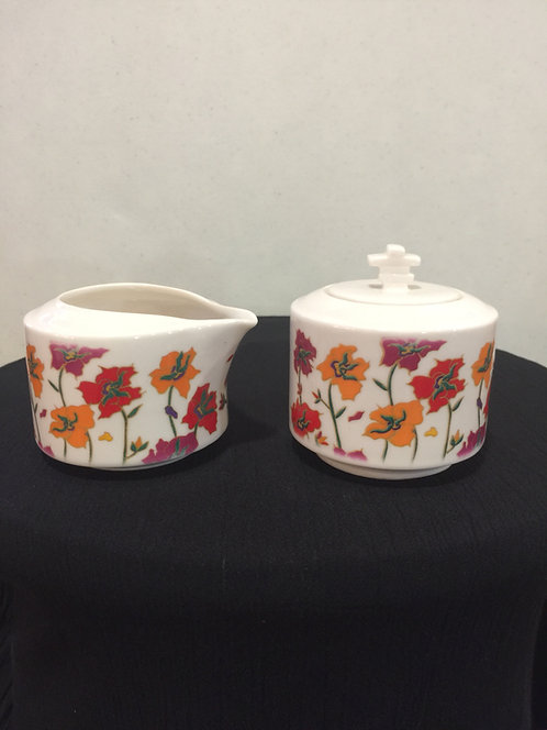 Arctic Poppy cream & sugar set