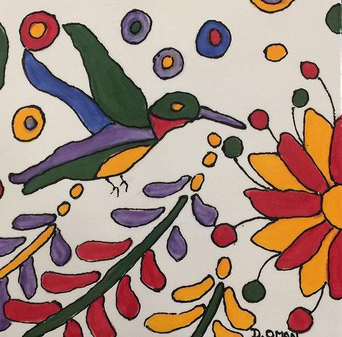"#2 Hummingbird Tile 6"" x6"""