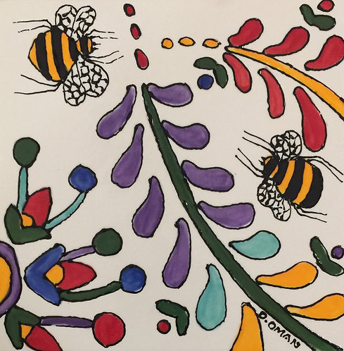 """#3 Bees Tile 6"""" x 6"""""""