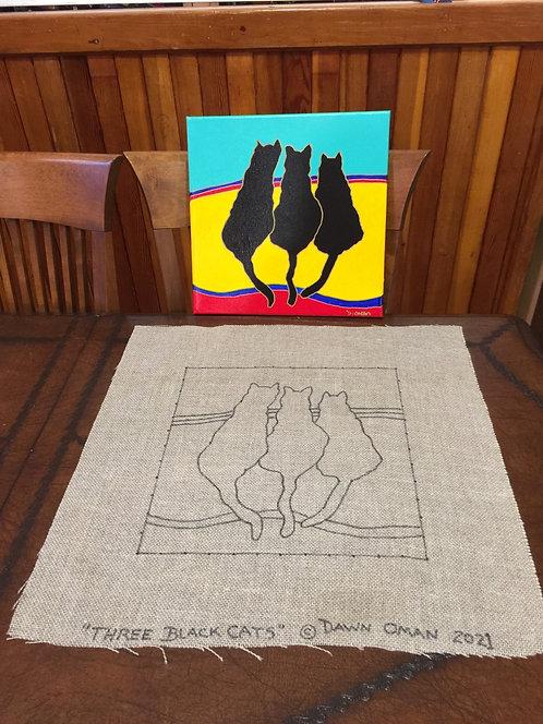 "Rug hooking pattern 3 Black cats 12"" x 12"" & 4"" border"