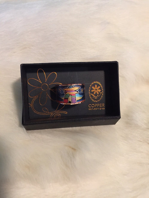 Inukshuk copper ring (blue) adjustable