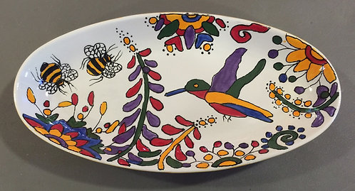 "#2 Hummingbird platter 11"" x 4"""