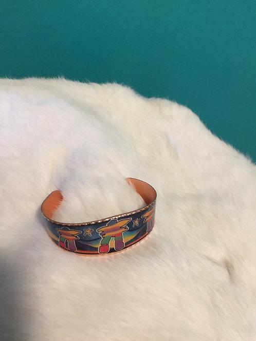 Inukshuk copper bracelet (blue)