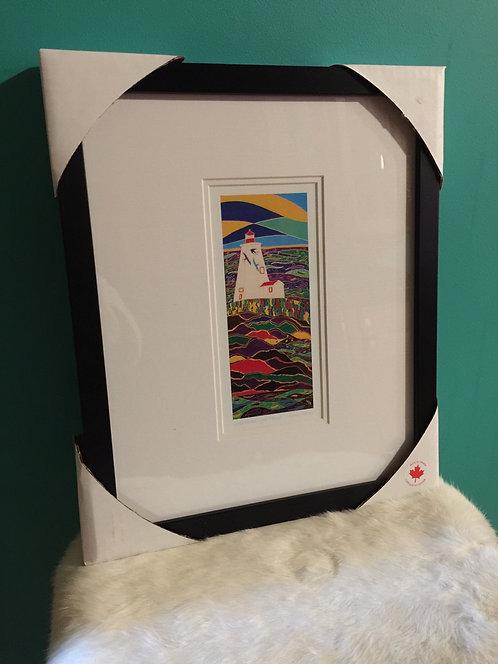 """Swallowtail  Lighthouse  framed 6 x 9"""" art card"""