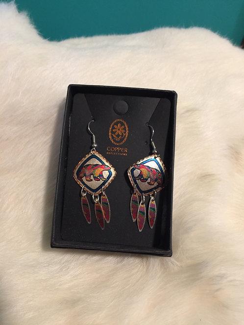 Alpha bear copper earrings