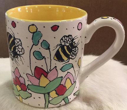 #3 Bee mug yellow inside