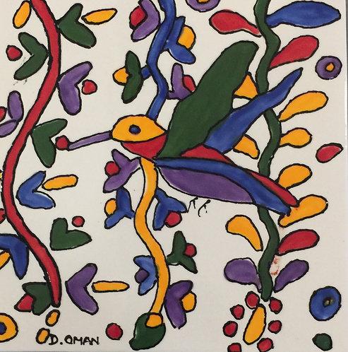 "#1 Hummingbird  tile 6"" x 6"""