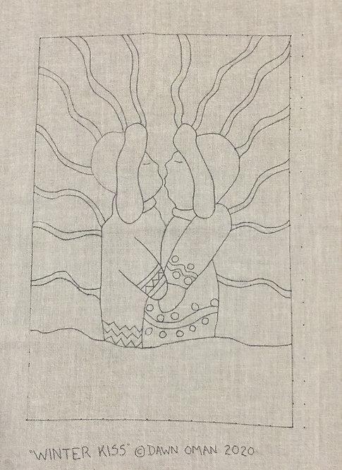"Rug hooking pattern Winter Kiss 36"" x 24"" & 4"" border"