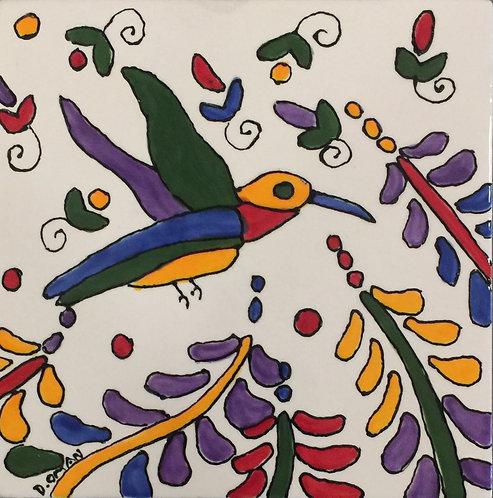 "#5 Hummingbird  Tile 6"" x 6"""