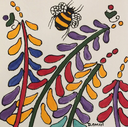 """#2 Bees Tile 6"""" x 6"""""""