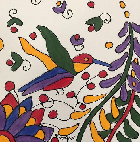 "#6 Hummingbird  Tile 6"" x 6"""