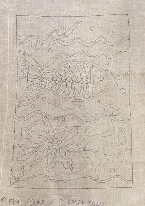 "Rug hooking pattern Fish & Sunfish 36"" x 24"" & 4"" border"