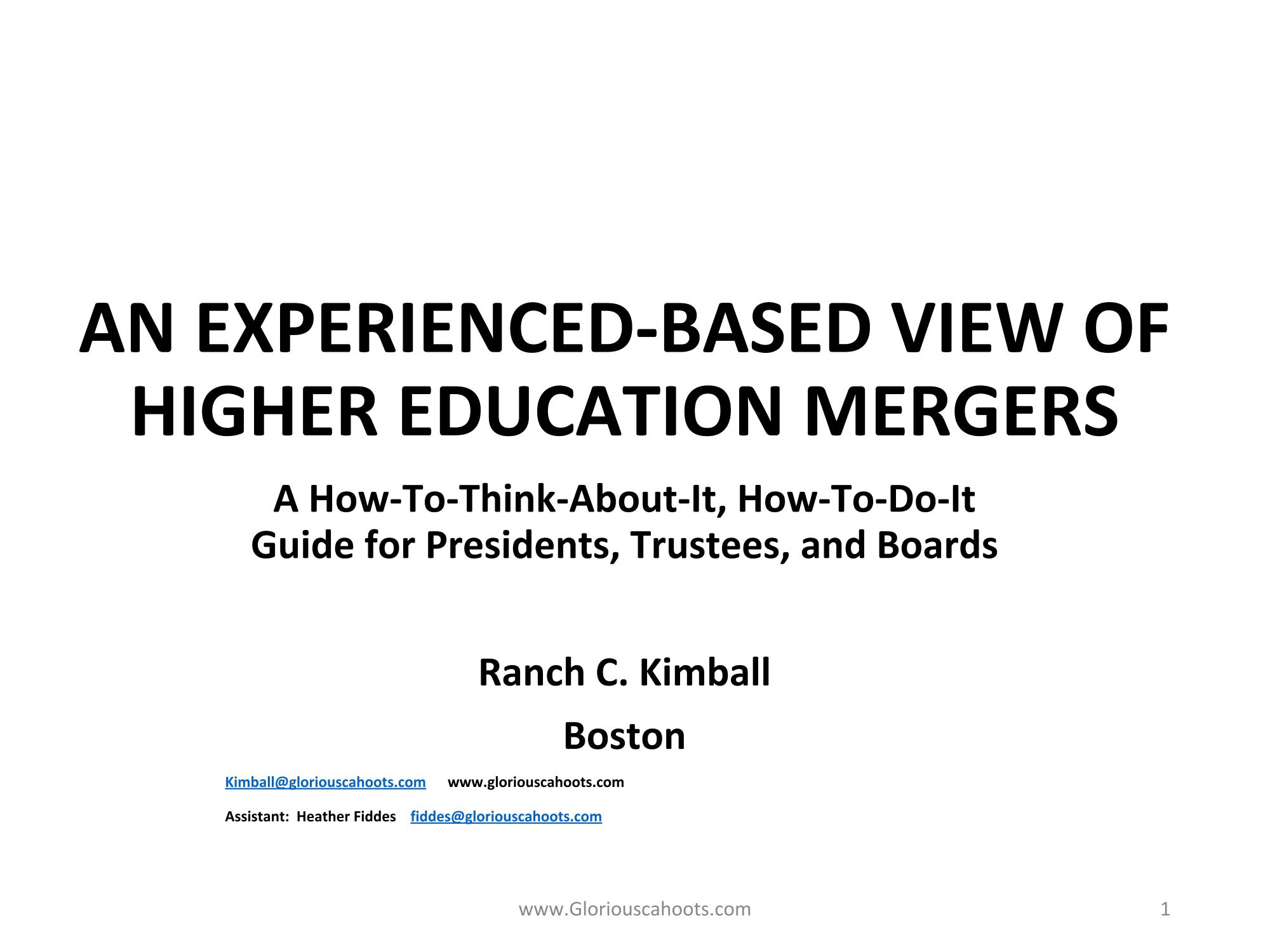 College Mergers_Kimball April 10-01