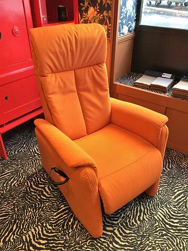 Fauteuil de relaxation tissu orange soldé