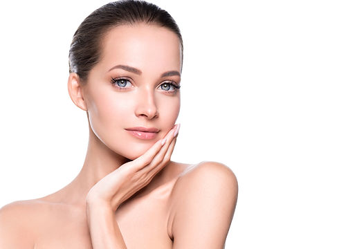 Beautiful woman face healthy skin and ha