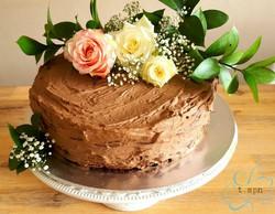Rustic 2 tier Lindt brownie cake
