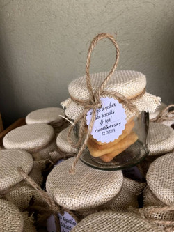 the jars filed with sugar cookies