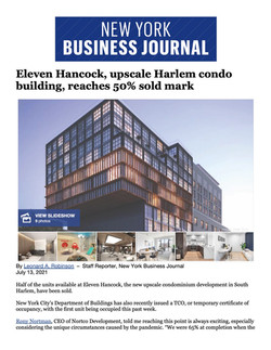 NY Business Journal, Eleven Hancock, upscale Harlem condo building, reaches 50% sold mark,