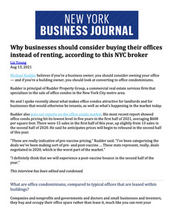 NY Business Journal, Why businesses should consider buying their offices instead of rentin