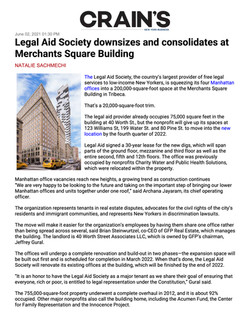 Crain's New York, Legal Aid Society downsizes and consolidates at Merchants Square Building, 06.02.2