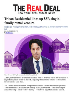 Real Deal,nTricon Residential lines up $5B single-family rental venture, 07.19.21