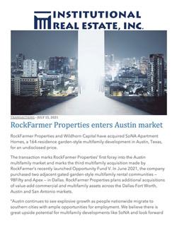 IREI, RockFarmer Properties enters Austin market, 07.15.21