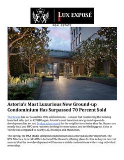 Lux Expose, Astoria's Most Luxurious New Ground-up Condominium Has Surpassed 70 Percent So