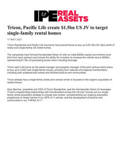 IP&E Real Assets, Tricon, Pacific Life c