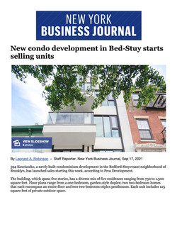 NY Business Journal, New condo development in Bed-Stuy starts selling units, 0917.21