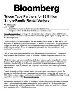 Bloomberg, Tricon Taps Partners for $5 Billion Single-Family Rental Venture, 07.19.21