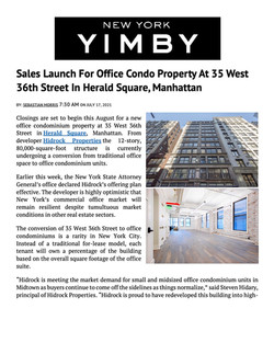 YIMBY, Sales Launch For Office Condo Property At 35 West 36th Street In Herald Square, Man