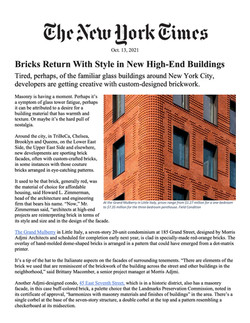 New York Times, Bricks Return With Style in New High-End Buildings, 10.13.21