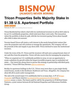 Bisnow, Tricon Properties Sells Majority