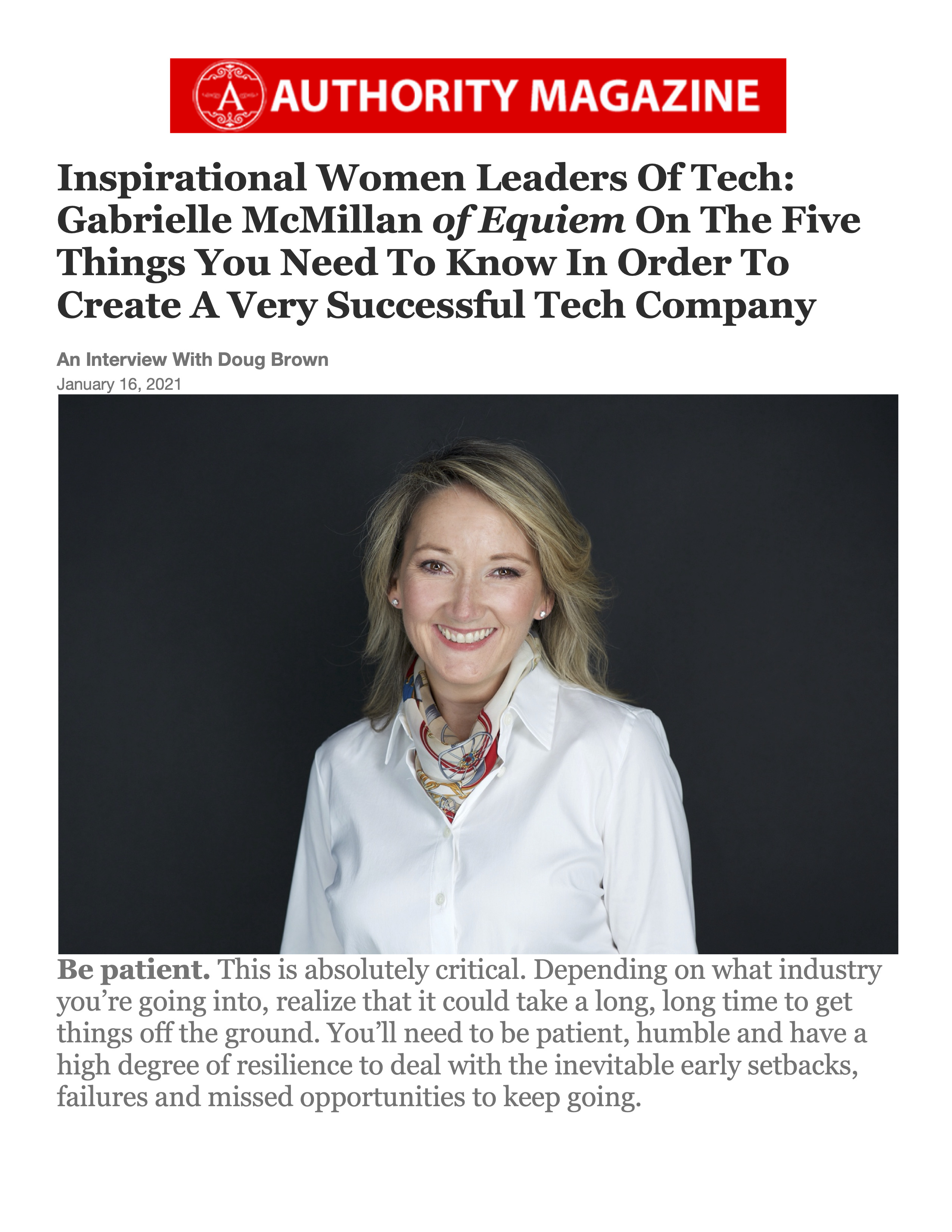 Authority Magazine, Inspirational Women