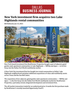 DBJ, New York investment firm acquires two Lake Highlands rental communities 06.15.21